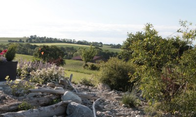 The gravel garden and landscape beyond